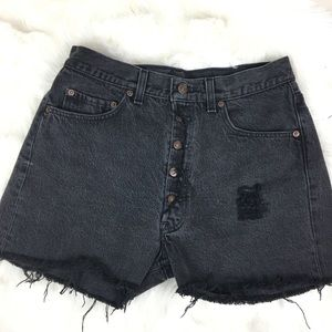 501 redone Levi's black fly button shorts